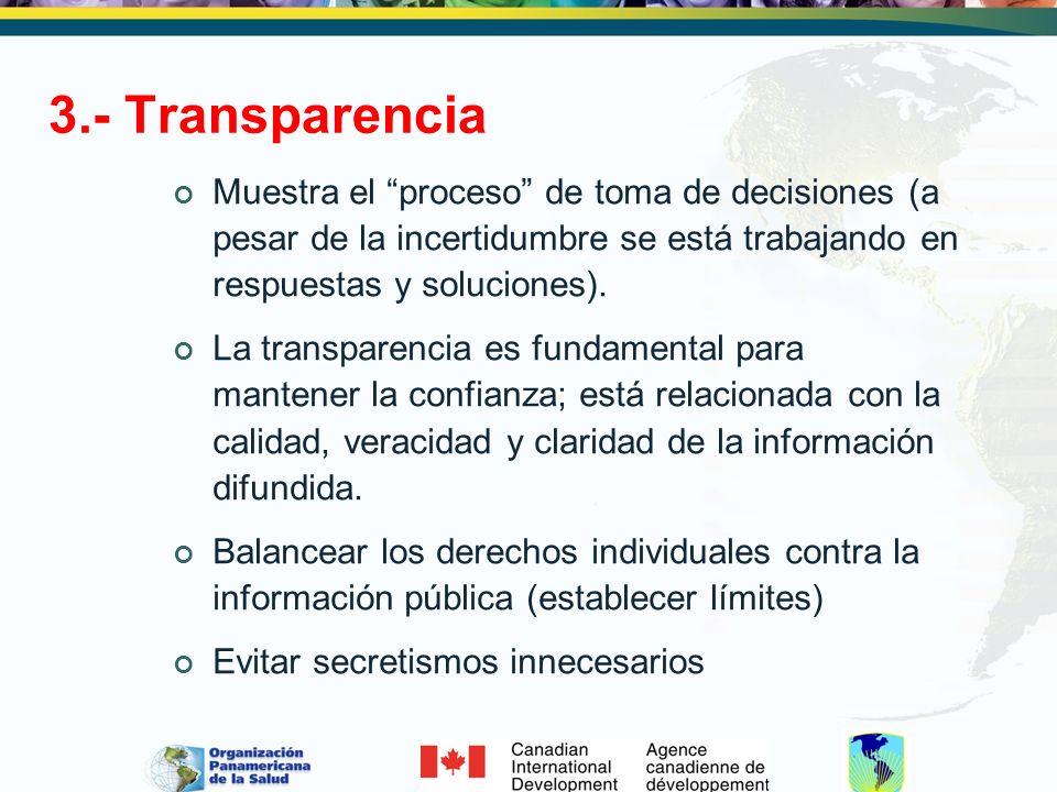 3.- Transparencia Muestra el proceso de toma de decisiones (a pesar de la incertidumbre se está trabajando en respuestas y soluciones). La transparenc