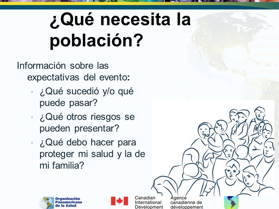 ¿Qué necesita la población? Información sobre las expectativas del evento: ¿Qué sucedió y/o qué puede pasar? ¿Qué otros riesgos se pueden presentar? ¿