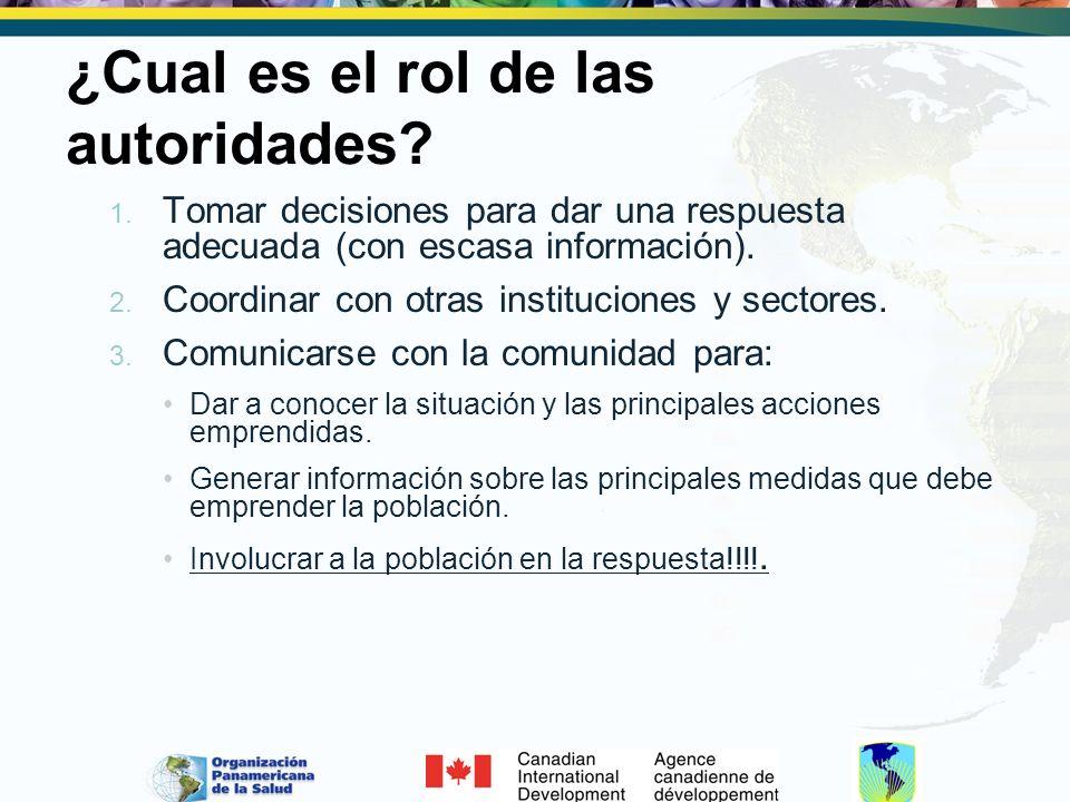 ¿Cual es el rol de las autoridades? 1. Tomar decisiones para dar una respuesta adecuada (con escasa información). 2. Coordinar con otras instituciones