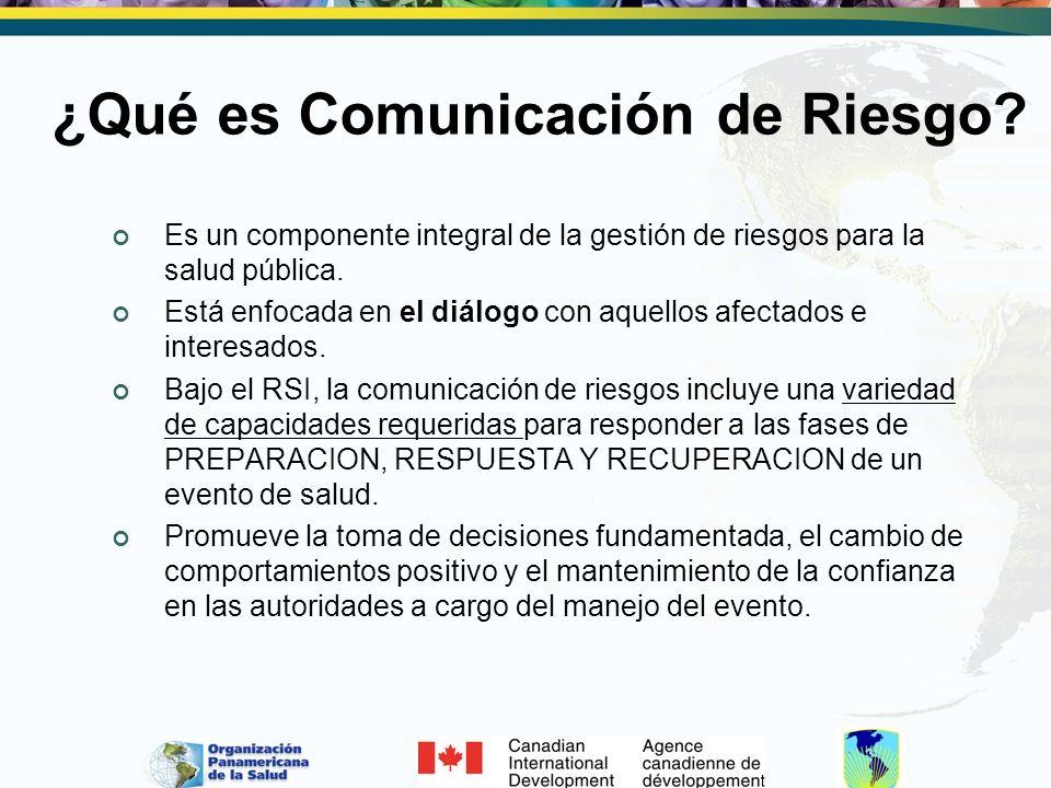 ¿Qué es Comunicación de Riesgo? Es un componente integral de la gestión de riesgos para la salud pública. Está enfocada en el diálogo con aquellos afe