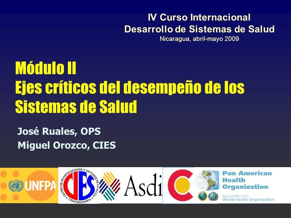 Módulo II Ejes críticos del desempeño de los Sistemas de Salud José Ruales, OPS Miguel Orozco, CIES IV Curso Internacional Desarrollo de Sistemas de S