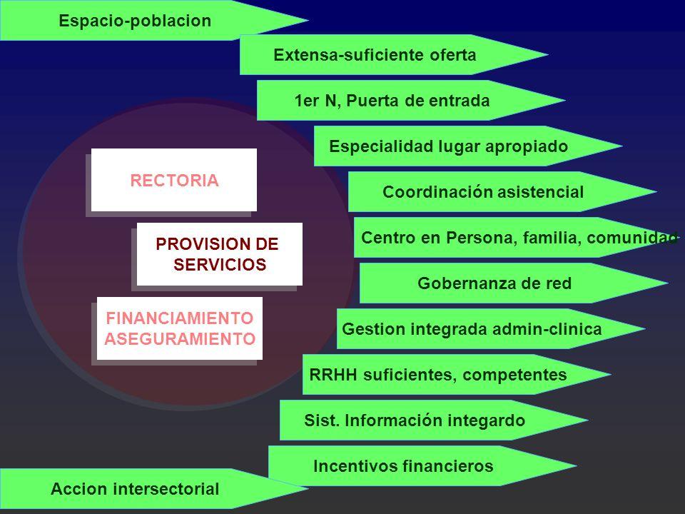 FINANCIAMIENTO ASEGURAMIENTO FINANCIAMIENTO ASEGURAMIENTO PROVISION DE SERVICIOS PROVISION DE SERVICIOS RECTORIA Espacio-poblacion Extensa-suficiente