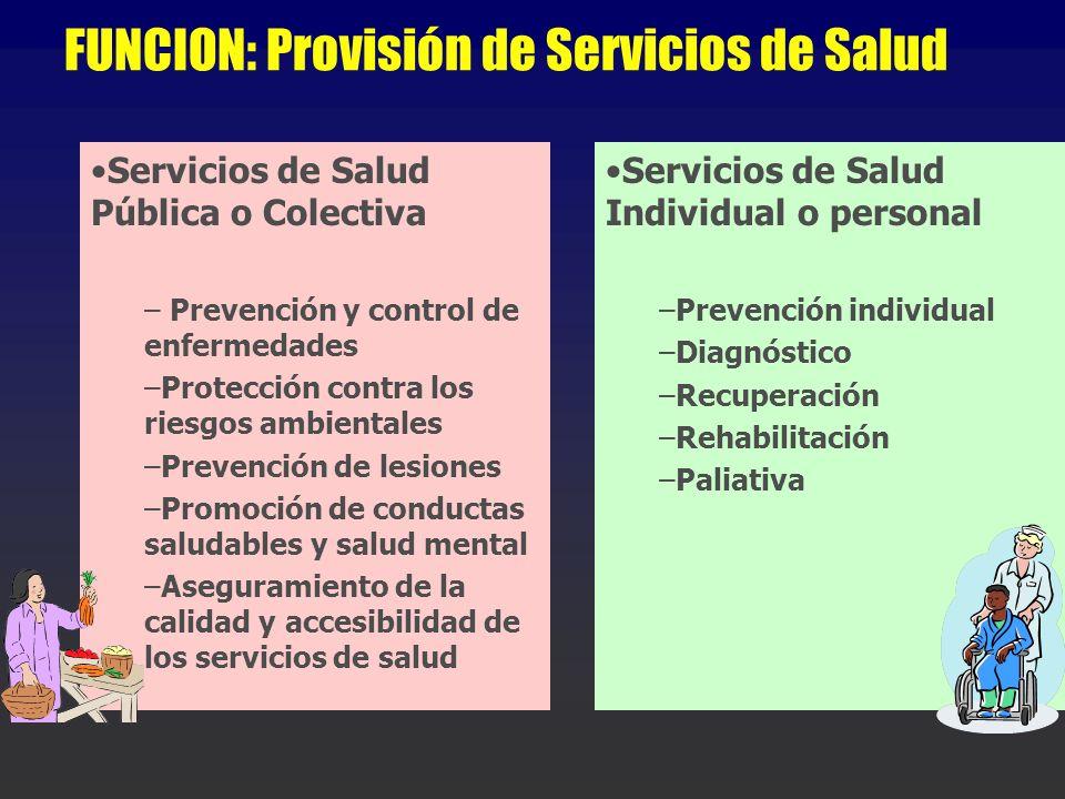 FUNCION: Provisión de Servicios de Salud Servicios de Salud Pública o Colectiva – Prevención y control de enfermedades –Protección contra los riesgos