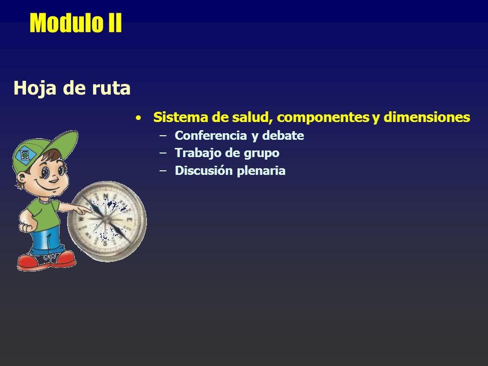 Modulo II Hoja de ruta Sistema de salud, componentes y dimensiones –Conferencia y debate –Trabajo de grupo –Discusión plenaria