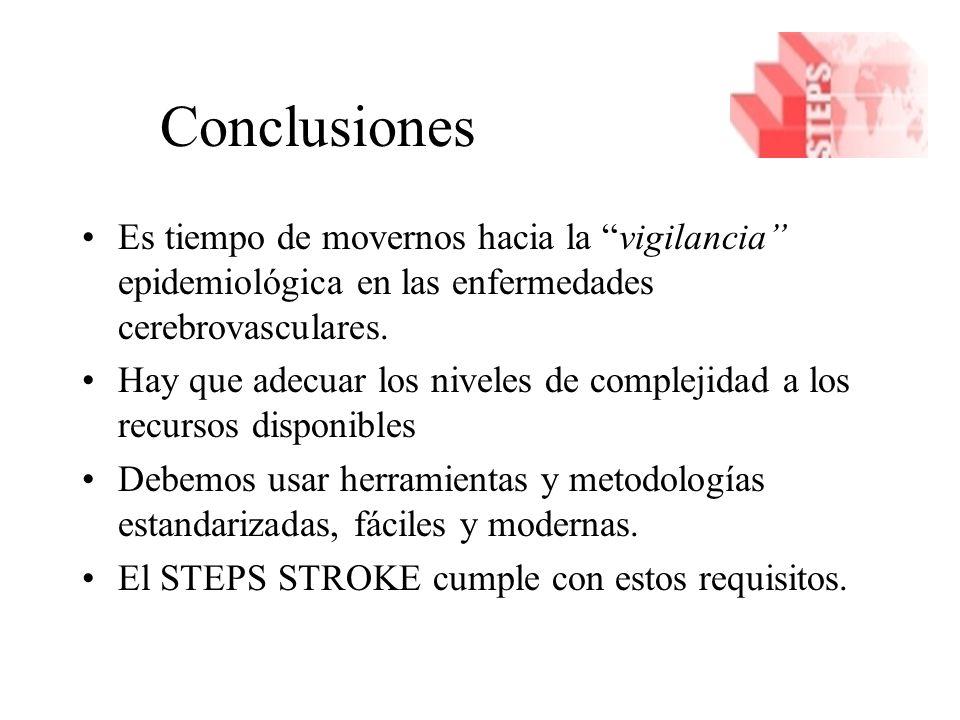 Conclusiones Es tiempo de movernos hacia la vigilancia epidemiológica en las enfermedades cerebrovasculares.