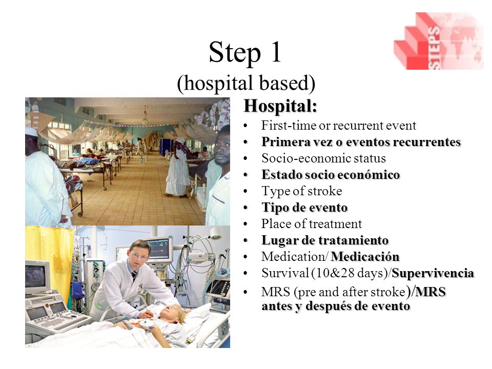 Step 1 (hospital based) Hospital: First-time or recurrent event Primera vez o eventos recurrentesPrimera vez o eventos recurrentes Socio-economic status Estado socio económicoEstado socio económico Type of stroke Tipo de eventoTipo de evento Place of treatment Lugar de tratamientoLugar de tratamiento MedicaciónMedication/ Medicación SupervivenciaSurvival (10&28 days)/Supervivencia MRS antes y después de eventoMRS (pre and after stroke )/ MRS antes y después de evento