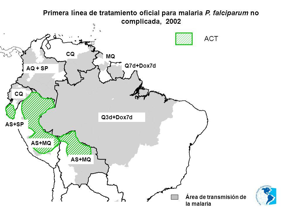 MQ CQ Área de transmisión de la malaria AS+MQ AS+SP AS+MQ ACT AQ + SP Q3d+Dox7d Q7d+Dox7d Primera línea de tratamiento oficial para malaria P. falcipa