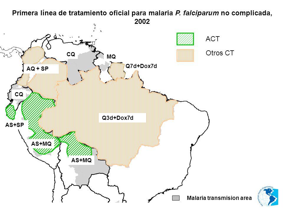 MQ CQ Malaria transmision area AS+MQ AS+SP AS+MQ ACT Otros CT Q7d+Dox7d AQ + SP Q3d+Dox7d Primera línea de tratamiento oficial para malaria P. falcipa