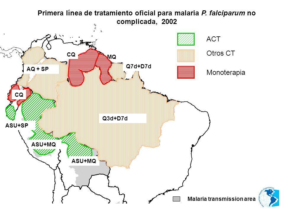 MQ Malaria transmission area ASU+MQ ASU+SP ASU+MQ ACT Q3d+D7d Monoterapia CQ Otros CT AQ + SP Q7d+D7d Primera línea de tratamiento oficial para malari