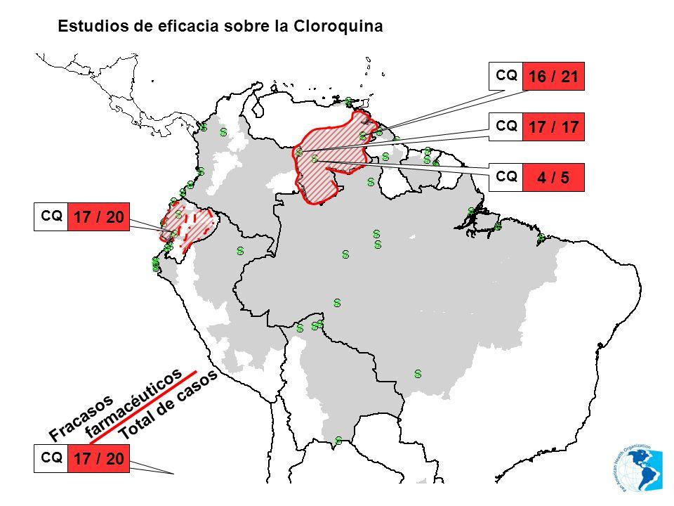 Estudios de eficacia sobre la Cloroquina CQ 16 / 21 CQ 17 / 17 CQ 4 / 5 CQ 17 / 20 CQ 17 / 20 Fracasos farmacéuticos Total de casos