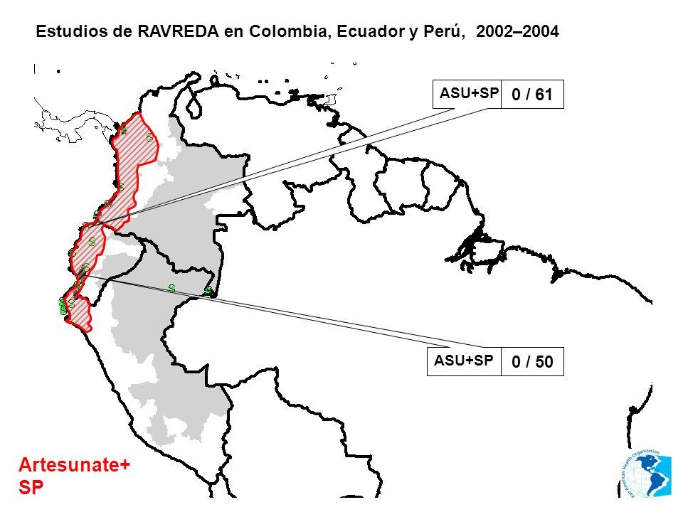 Estudios de RAVREDA en Colombia, Ecuador y Perú, 2002–2004 Artesunate+ SP ASU+SP 0 / 61 ASU+SP 0 / 50