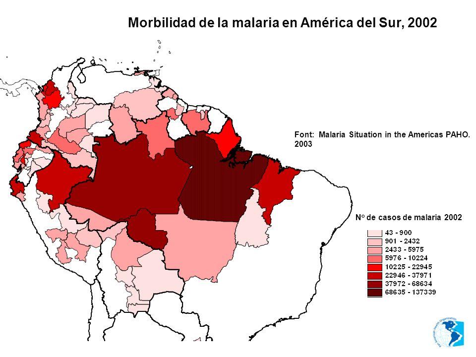Morbilidad de la malaria en América del Sur, 2002 Font: Malaria Situation in the Americas PAHO. 2003 N o de casos de malaria 2002