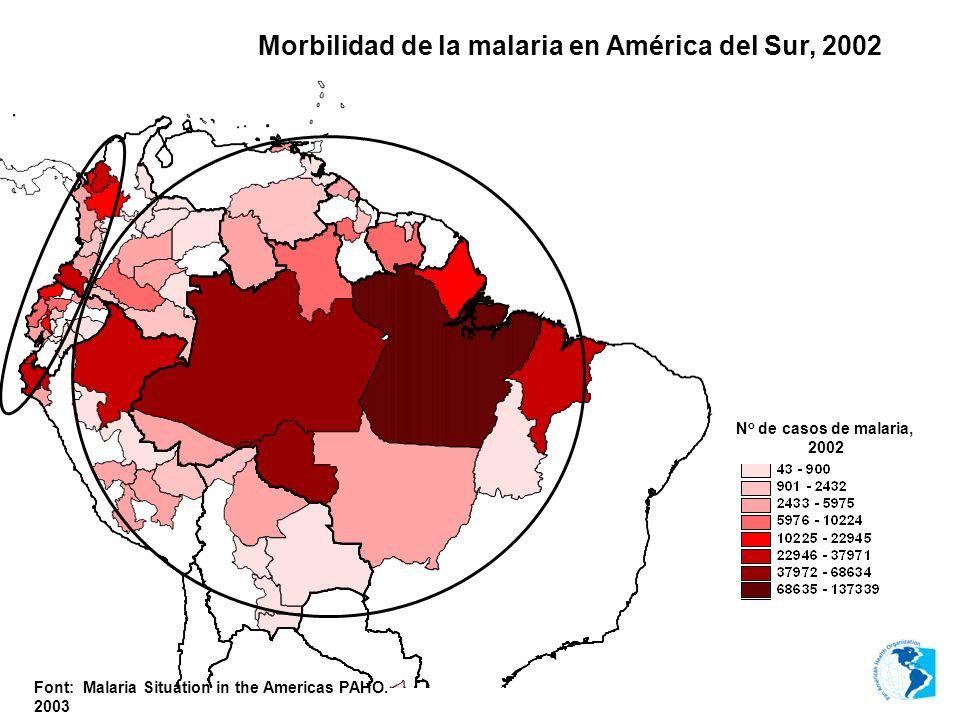 Morbilidad de la malaria en América del Sur, 2002 Font: Malaria Situation in the Americas PAHO. 2003 N o de casos de malaria, 2002