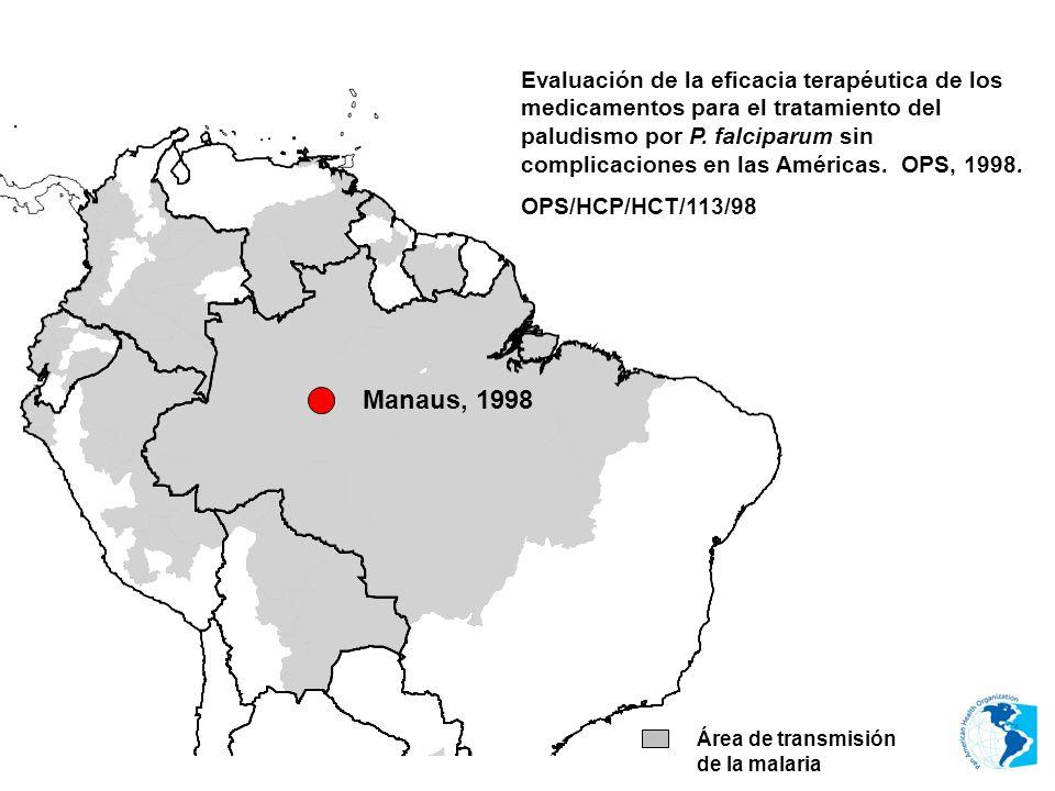 Área de transmisión de la malaria Evaluación de la eficacia terapéutica de los medicamentos para el tratamiento del paludismo por P. falciparum sin co