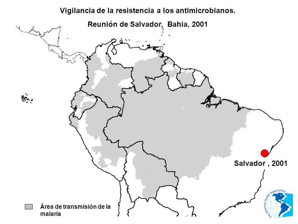 Área de transmisión de la malaria Vigilancia de la resistencia a los antimicrobianos. Reunión de Salvador, Bahia, 2001 Salvador, 2001