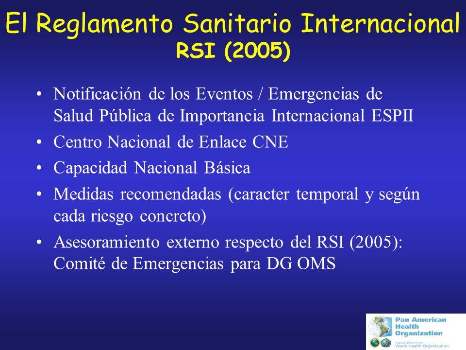 El Reglamento Sanitario Internacional RSI (2005) Notificación de los Eventos / Emergencias de Salud Pública de Importancia Internacional ESPII Centro Nacional de Enlace CNE Capacidad Nacional Básica Medidas recomendadas (caracter temporal y según cada riesgo concreto) Asesoramiento externo respecto del RSI (2005): Comité de Emergencias para DG OMS