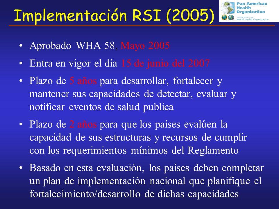Implementación RSI (2005) Aprobado WHA 58, Mayo 2005 Entra en vigor el día 15 de junio del 2007 Plazo de 5 años para desarrollar, fortalecer y mantener sus capacidades de detectar, evaluar y notificar eventos de salud publica Plazo de 2 años para que los países evalúen la capacidad de sus estructuras y recursos de cumplir con los requerimientos mínimos del Reglamento Basado en esta evaluación, los países deben completar un plan de implementación nacional que planifique el fortalecimiento/desarrollo de dichas capacidades
