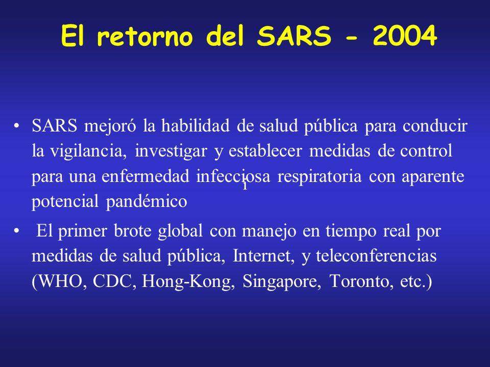 El retorno del SARS - 2004 SARS mejoró la habilidad de salud pública para conducir la vigilancia, investigar y establecer medidas de control para una enfermedad infecciosa respiratoria con aparente potencial pandémico El primer brote global con manejo en tiempo real por medidas de salud pública, Internet, y teleconferencias (WHO, CDC, Hong-Kong, Singapore, Toronto, etc.) ii