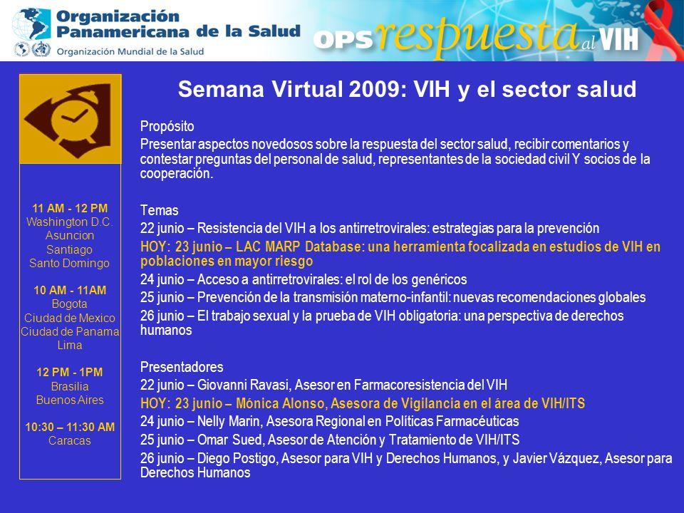 2003 Semana Virtual 2009: VIH y el sector salud Propósito Presentar aspectos novedosos sobre la respuesta del sector salud, recibir comentarios y contestar preguntas del personal de salud, representantes de la sociedad civil Y socios de la cooperación.