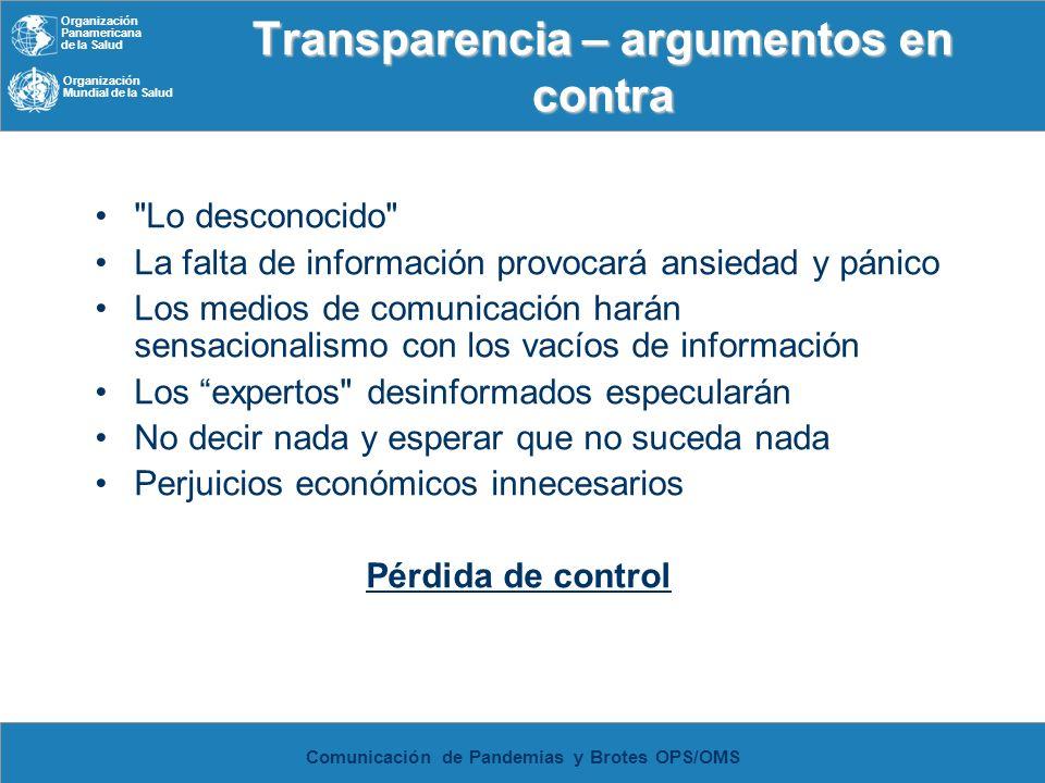 Organización Panamericana de la Salud Organización Mundial de la Salud Comunicación de Pandemias y Brotes OPS/OMS Transparencia – argumentos en contra