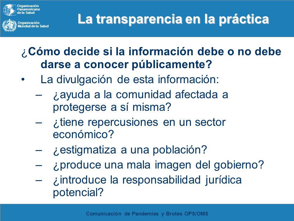 Organización Panamericana de la Salud Organización Mundial de la Salud Comunicación de Pandemias y Brotes OPS/OMS La transparencia en la práctica La t