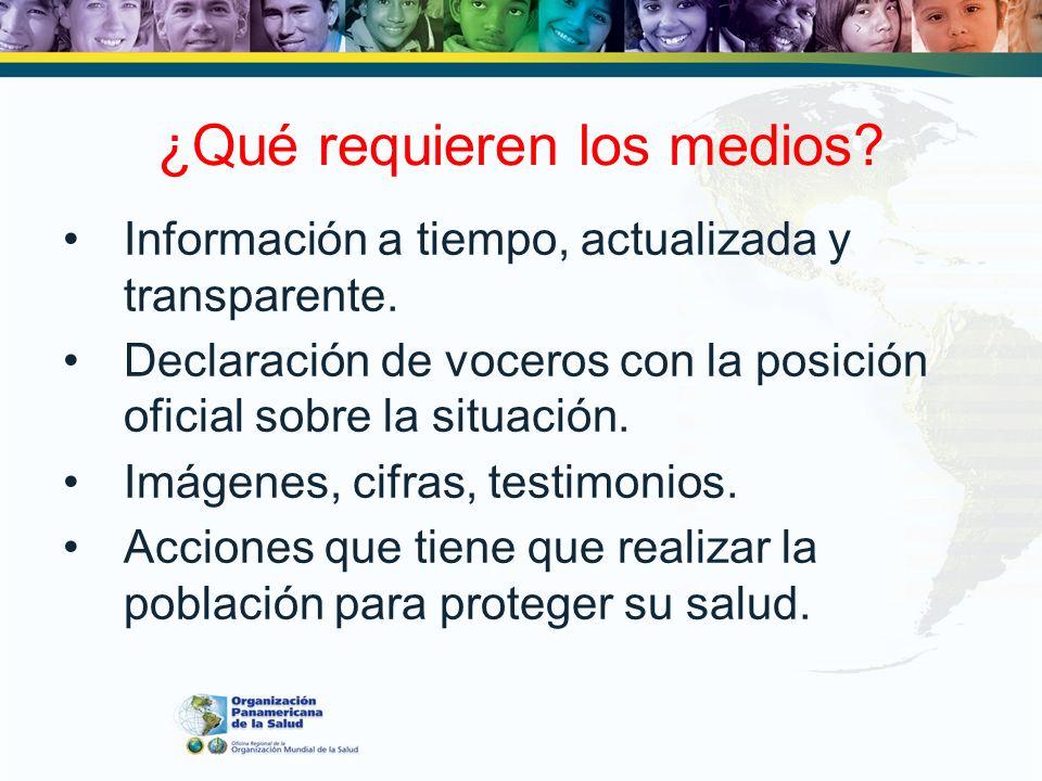 ¿Qué requieren los medios? Información a tiempo, actualizada y transparente. Declaración de voceros con la posición oficial sobre la situación. Imágen