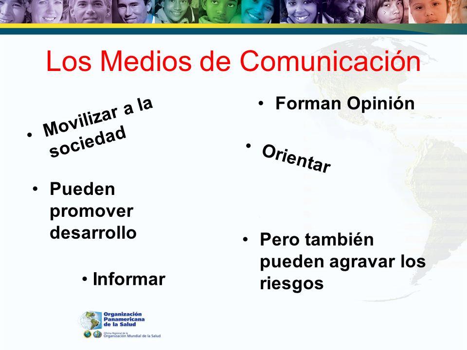 Los Medios de Comunicación Forman Opinión Movilizar a la sociedad Orientar Pueden promover desarrollo Pero también pueden agravar los riesgos Informar