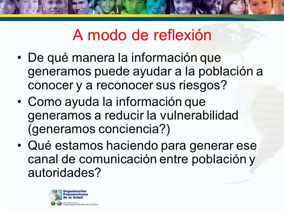 A modo de reflexión De qué manera la información que generamos puede ayudar a la población a conocer y a reconocer sus riesgos? Como ayuda la informac