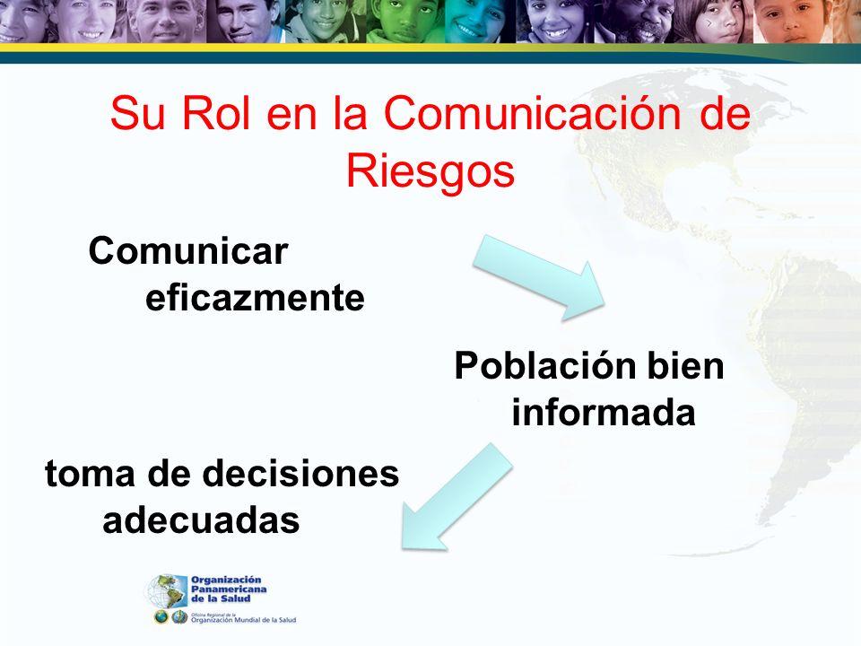 Su Rol en la Comunicación de Riesgos Comunicar eficazmente Población bien informada toma de decisiones adecuadas