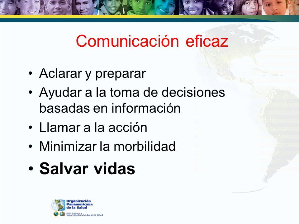 Comunicación eficaz Aclarar y preparar Ayudar a la toma de decisiones basadas en información Llamar a la acción Minimizar la morbilidad Salvar vidas