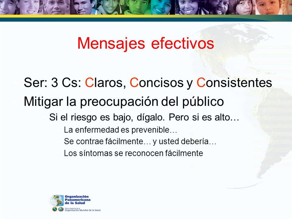 Ser: 3 Cs: Claros, Concisos y Consistentes Mitigar la preocupación del público Si el riesgo es bajo, dígalo. Pero si es alto… –La enfermedad es preven
