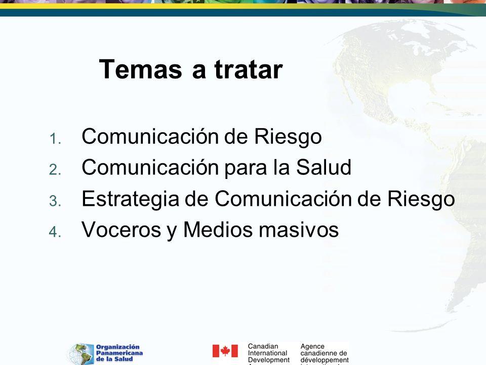 Temas a tratar 1. Comunicación de Riesgo 2. Comunicación para la Salud 3. Estrategia de Comunicación de Riesgo 4. Voceros y Medios masivos