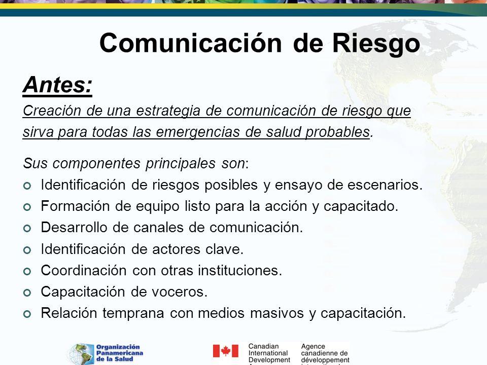 Comunicación de Riesgo Antes: Creación de una estrategia de comunicación de riesgo que sirva para todas las emergencias de salud probables. Sus compon