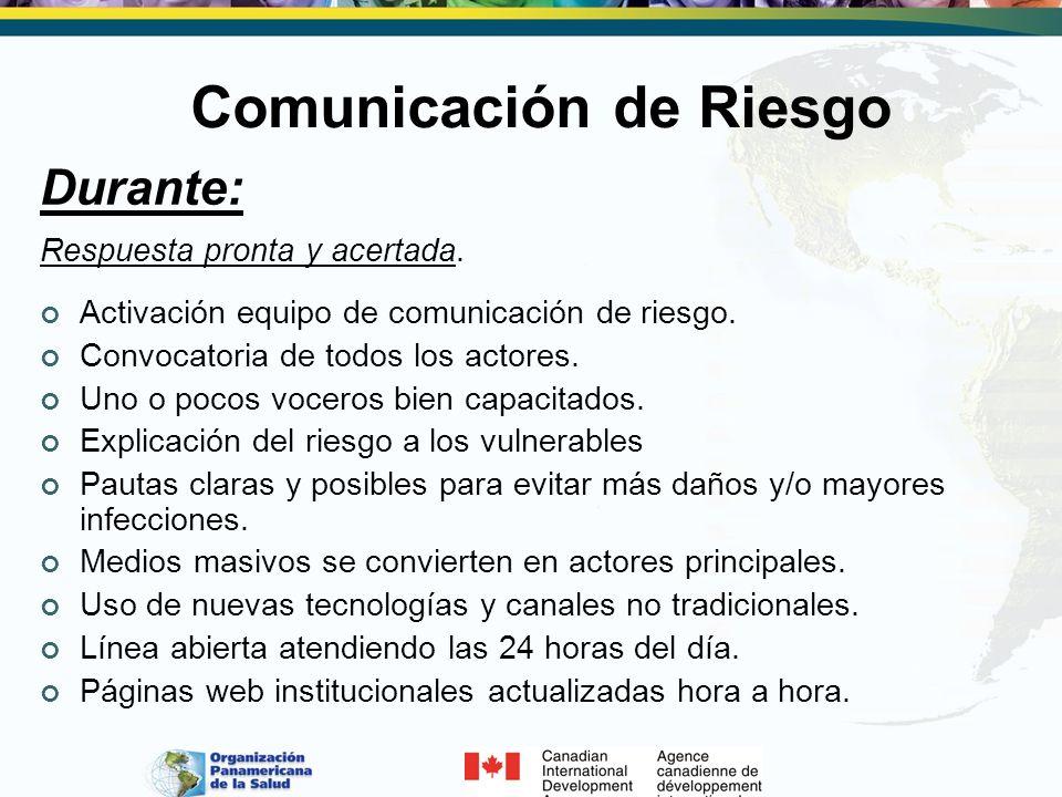 Comunicación de Riesgo Durante: Respuesta pronta y acertada. Activación equipo de comunicación de riesgo. Convocatoria de todos los actores. Uno o poc