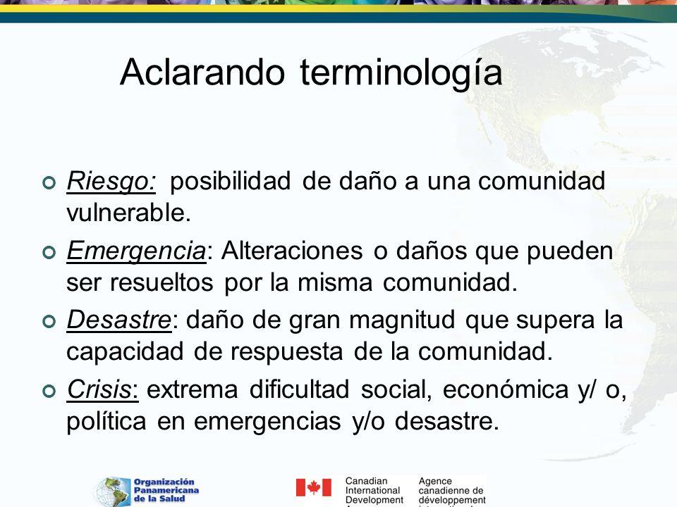 Aclarando terminología Riesgo: posibilidad de daño a una comunidad vulnerable. Emergencia: Alteraciones o daños que pueden ser resueltos por la misma