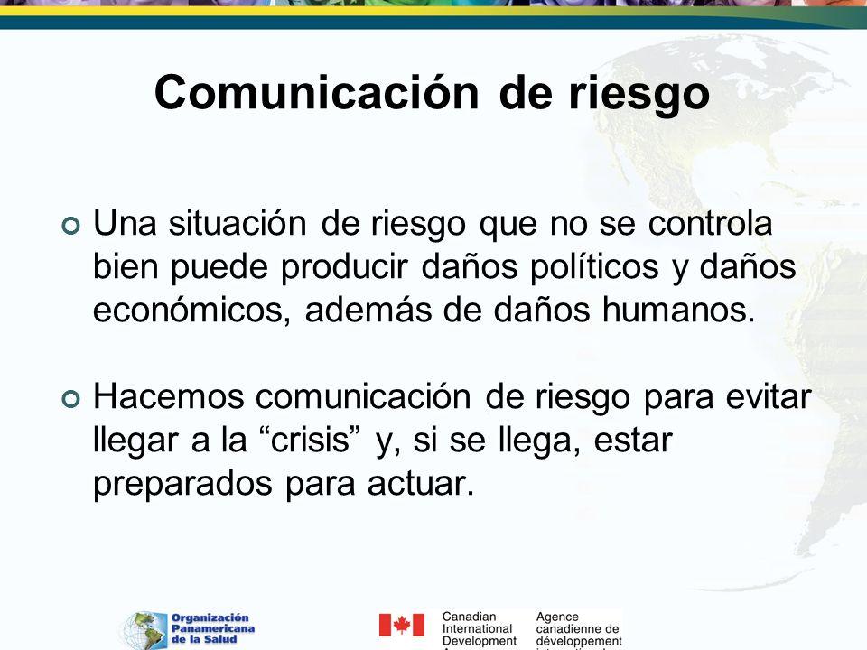 Comunicación de riesgo Una situación de riesgo que no se controla bien puede producir daños políticos y daños económicos, además de daños humanos. Hac