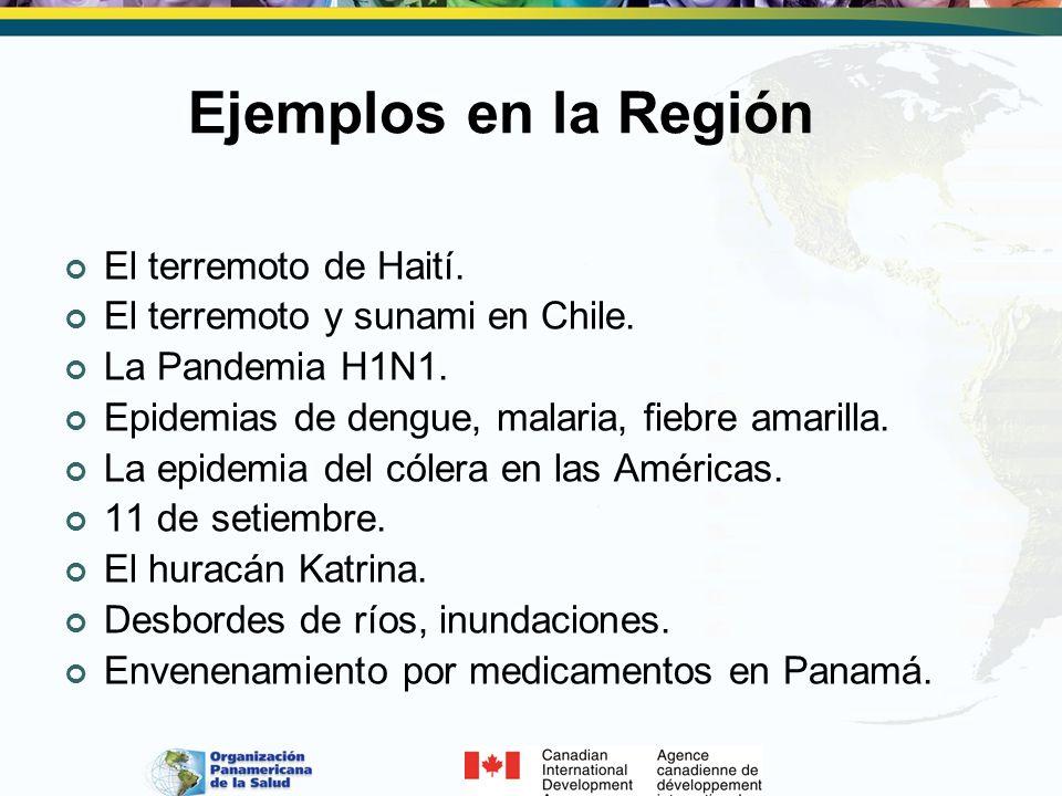 Ejemplos en la Región El terremoto de Haití. El terremoto y sunami en Chile. La Pandemia H1N1. Epidemias de dengue, malaria, fiebre amarilla. La epide