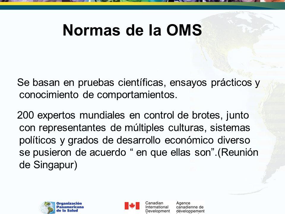 Normas de la OMS Se basan en pruebas científicas, ensayos prácticos y conocimiento de comportamientos. 200 expertos mundiales en control de brotes, ju