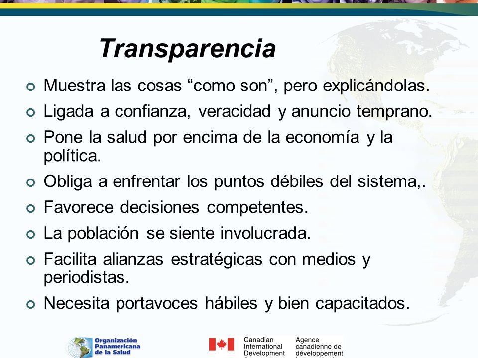 Transparencia Muestra las cosas como son, pero explicándolas. Ligada a confianza, veracidad y anuncio temprano. Pone la salud por encima de la economí