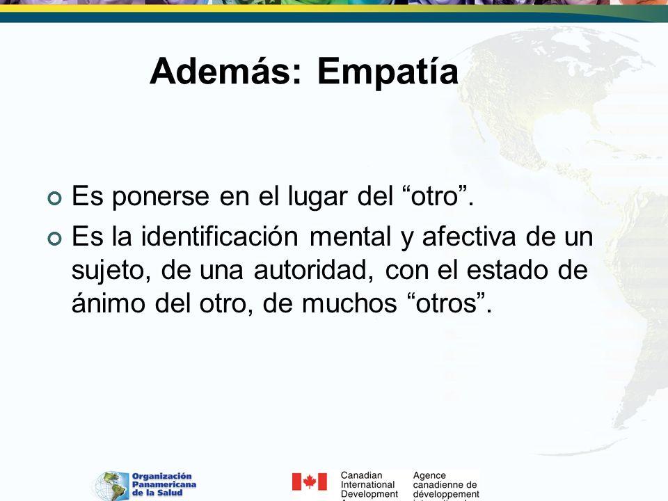 Además: Empatía Es ponerse en el lugar del otro. Es la identificación mental y afectiva de un sujeto, de una autoridad, con el estado de ánimo del otr