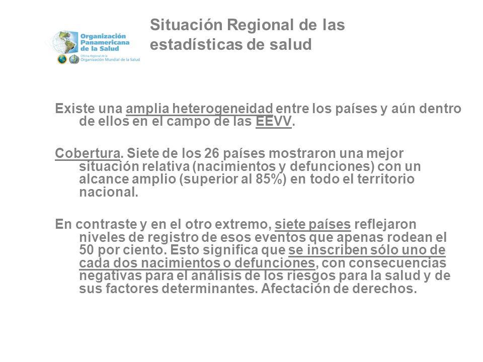 Existe una amplia heterogeneidad entre los países y aún dentro de ellos en el campo de las EEVV.