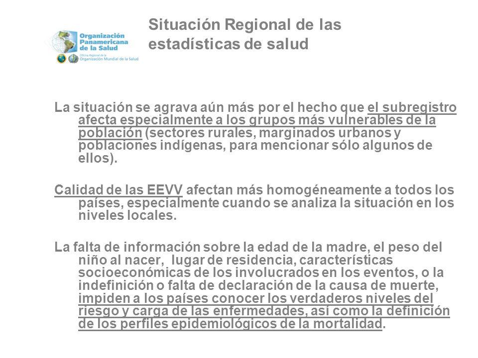 La situación se agrava aún más por el hecho que el subregistro afecta especialmente a los grupos más vulnerables de la población (sectores rurales, marginados urbanos y poblaciones indígenas, para mencionar sólo algunos de ellos).