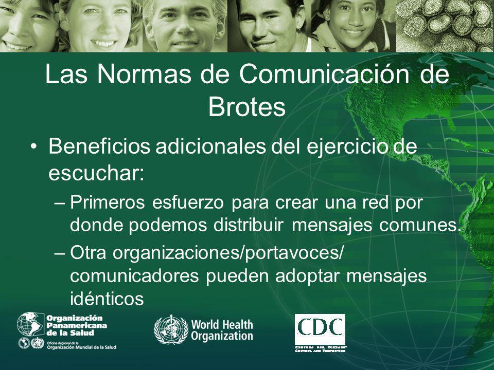 Las Normas de Comunicación de Brotes Beneficios adicionales del ejercicio de escuchar: –Primeros esfuerzo para crear una red por donde podemos distribuir mensajes comunes.