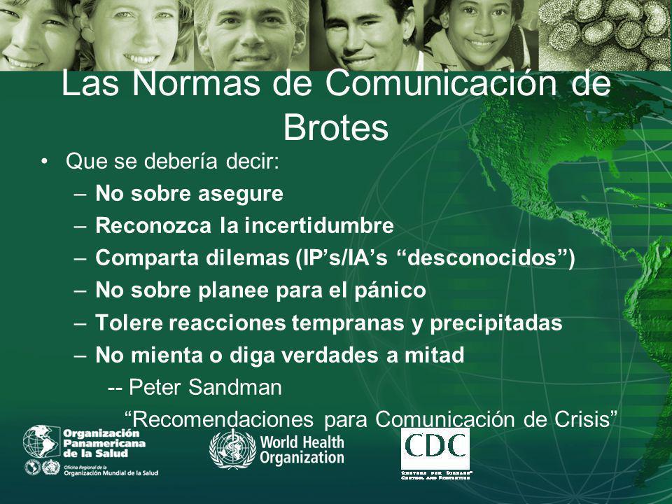 Las Normas de Comunicación de Brotes Que se debería decir: –No sobre asegure –Reconozca la incertidumbre –Comparta dilemas (IPs/IAs desconocidos) –No sobre planee para el pánico –Tolere reacciones tempranas y precipitadas –No mienta o diga verdades a mitad -- Peter Sandman Recomendaciones para Comunicación de Crisis