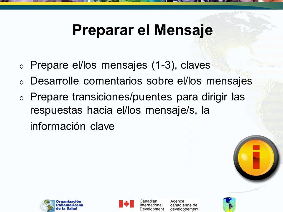 Preparar el Mensaje o Prepare el/los mensajes (1-3), claves o Desarrolle comentarios sobre el/los mensajes o Prepare transiciones/puentes para dirigir las respuestas hacia el/los mensaje/s, la información clave