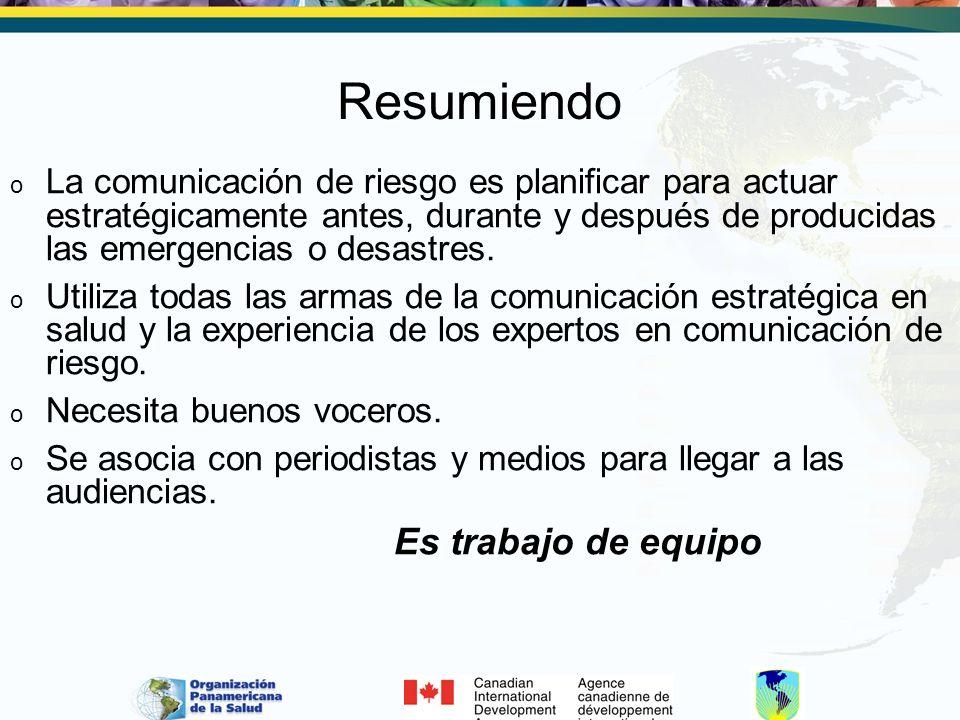 Resumiendo o La comunicación de riesgo es planificar para actuar estratégicamente antes, durante y después de producidas las emergencias o desastres.