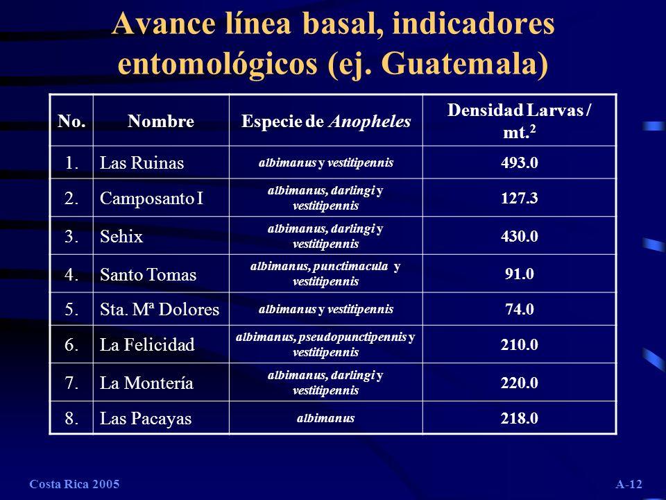 Costa Rica 2005A-12 Avance línea basal, indicadores entomológicos (ej. Guatemala) No.NombreEspecie de Anopheles Densidad Larvas / mt. 2 1.Las Ruinas a