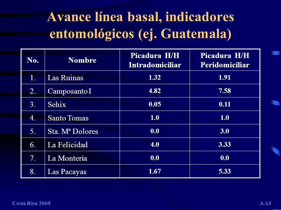 Costa Rica 2005A-13 Avance línea basal, indicadores entomológicos (ej. Guatemala) No.Nombre Picadura H/H Intradomiciliar Picadura H/H Peridomiciliar 1