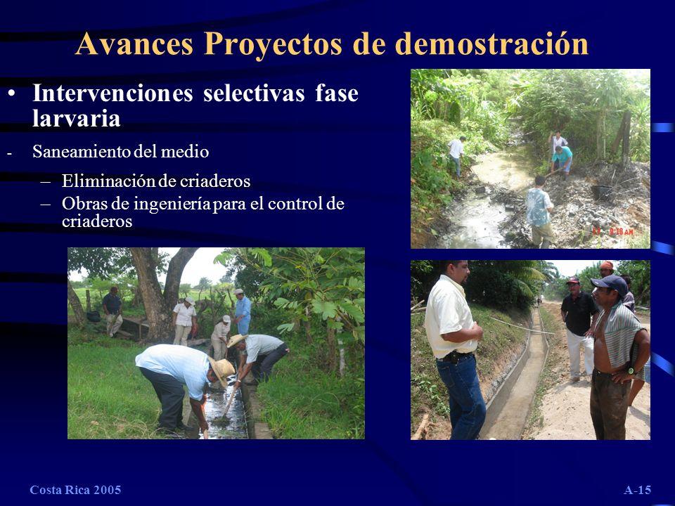 Costa Rica 2005A-15 Avances Proyectos de demostración Intervenciones selectivas fase larvaria - Saneamiento del medio –Eliminación de criaderos –Obras