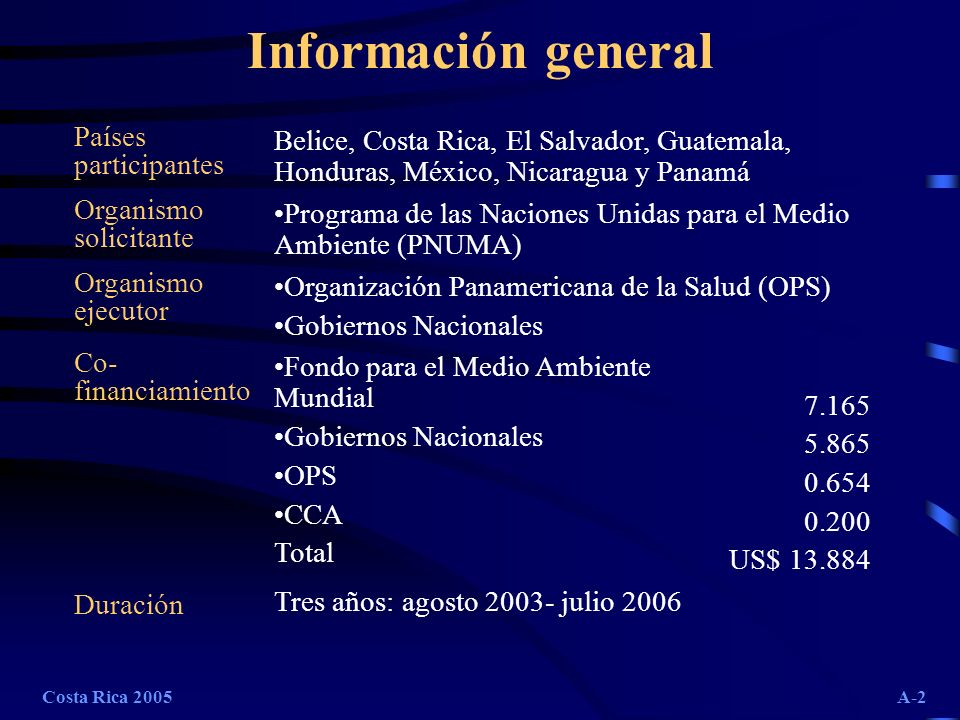 Costa Rica 2005A-13 Avance línea basal, indicadores entomológicos (ej.